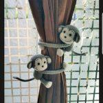 2 Monkey Curtain Tiebacks, Crochet monkey, monkey tieback, baby shower, (Made of Cotton yarn)