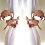 2 Monkeys Curtain Tiebacks, Cotton yarn monkeys crochet tieback. (Both side) *** (MADE TO ORDER)