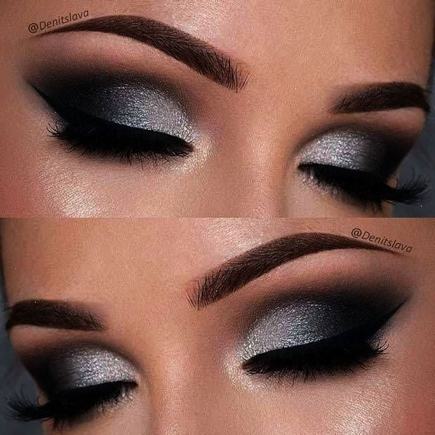 21 Insanely Beautiful Makeup Ideas for Prom: #4. DRAMATIC BLACK & SILVER SMOKEY …