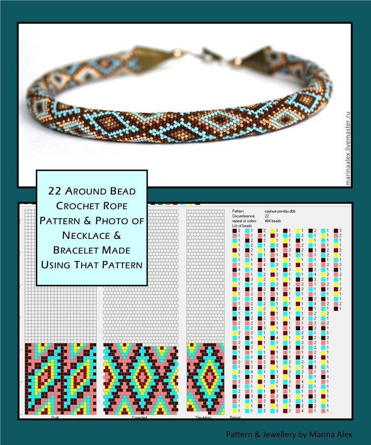 22 around bead crochet rope pattern and a photo showing what a necklace made using that pattern looks like. I did not create the pattern or jewellery. I simply put the two together as I find it useful to see the finished piece next to the pattern when choosing my next project. I thought you might too. Thanks, and credit, to Marina Alex who created the pattern and jewellery