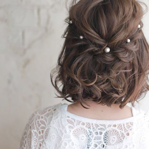 25 +> Wedding hairstyles for short hair, #hairs #highly