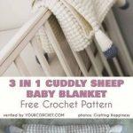 3-in-1 Cuddly Sheep Baby Toy Pram Blanket Free Crochet Pattern #babyshowerideas