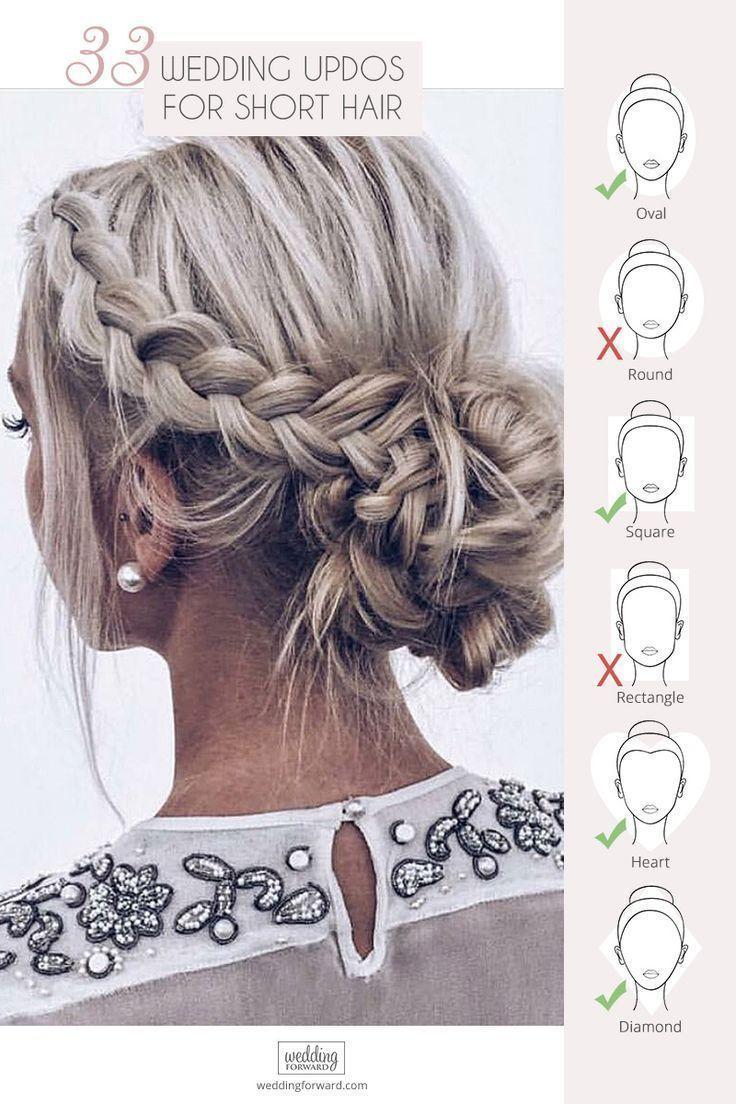 33 Short Hair Wedding Hairstyles – #Hair #Short #Updos #Wedding