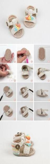 45 Ideen für häkeln Kinder Hausschuhe Muster Baby Booties