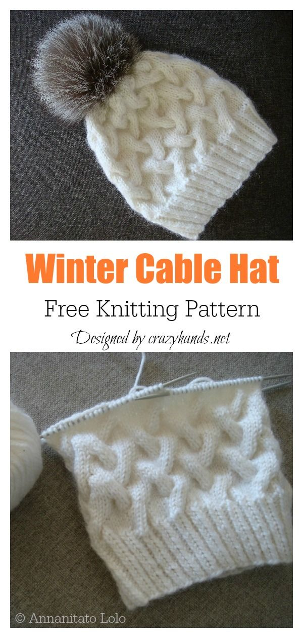 6 Cable Hat Free Knitting Pattern