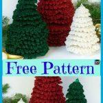 8 Mini Crochet Christmas Trees - Free Patterns - DIY 4 EVER