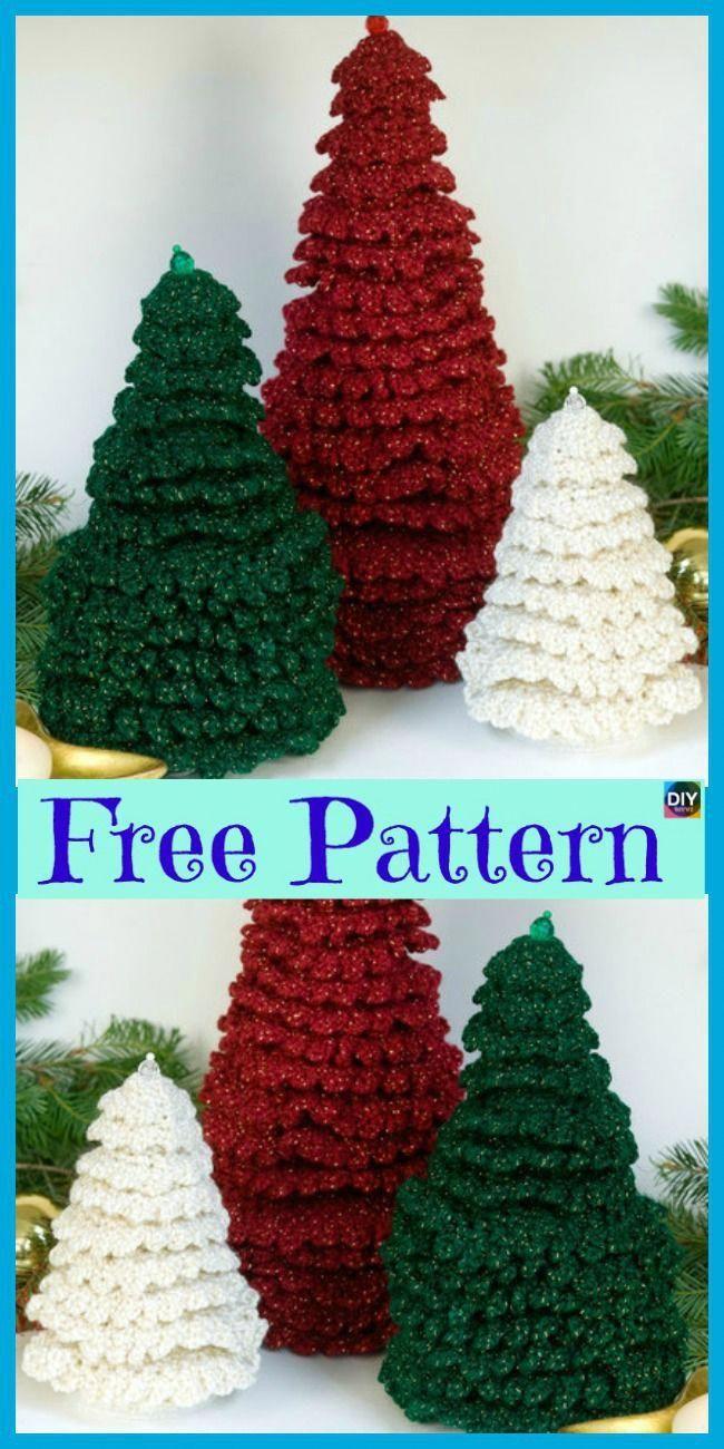 8 Mini Crochet Christmas Trees – Free Patterns – DIY 4 EVER