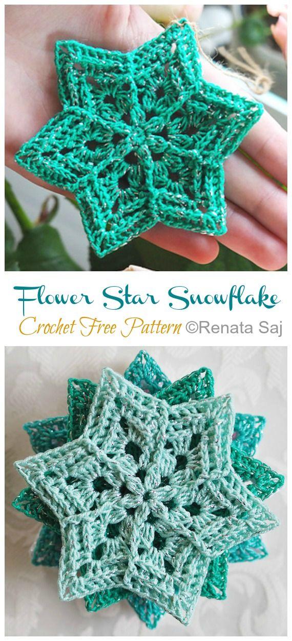 8 Winter Flower Snowflake Crochet Free Patterns