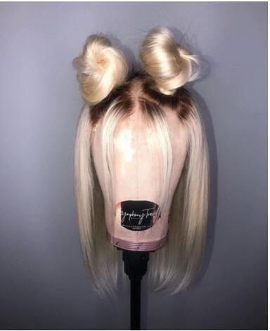 $86.99 Romance Wigs For Women 1b, 613 Blonde Lace Wig Straight Brazilian Human Hair Short Bob Wig