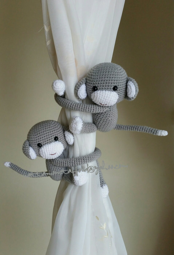 A pair of Light Gray Monkeys tieback, Monkey Curtain Tiebacks, monkey crochet,  (Made of cotton yarn)