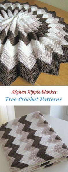 Afghan Ripple Blanket Free Crochet Pattern #crochet #crafts #homedecor #style #b…