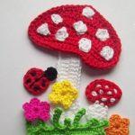 Applique Flower Patterns - Häkelarbeit Applique Samples Blumenmuster