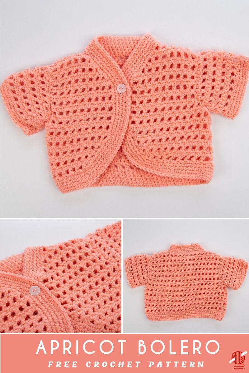 Apricot Crochet Baby Bolero [FREE]