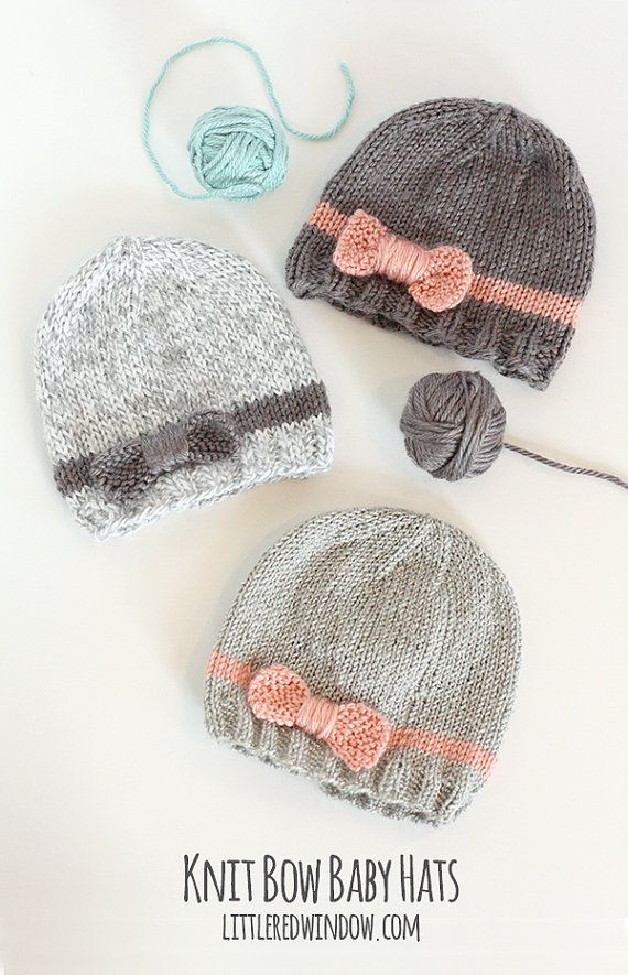 Baby Bow Hat KNITTING PATTERN  //  Knitting Pattern for Newborn Girl Hat with Bow  //  Baby Girl Bow Hat Pattern