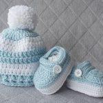 Baby Boy Set, Crochet Baby Boy Hat and Booties Set, Pom-pom Hat, Boy Shoes, Crochet Hat, Crochet Booties, Newborn Crochet Set, Boy Booties