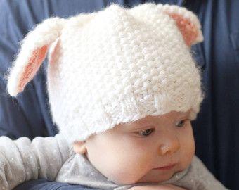 Baby Pig Hat KNITTING PATTERN / Pig Knitting Pattern / Kids Animal Hat / Knit Pig Hat / Pig Baby Hat / Pig Hat Pattern / Nursery Farm Decor