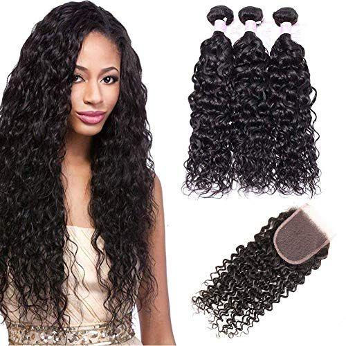 Best Seller IUPin Hair Brazilian Virgin Hair Water Wave Human Hair 3 Bundles 12 14 16 Inch 10 Inch Closure Wet Wavy Human Hair Weave Curly Hair Weave Extensions Bundles Closure Natural Black Color online
