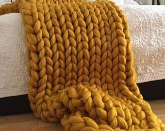 Black Chunky knit blanket – Christmas – Wool throw, Chunky blanket, Giant knit blanket, Knitted blanket, giant throw, arm knit blanket