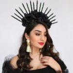 Black Spiked Sunburst Crown Goddess Gold Star Halo Crown Black Spike Crown Bridal Headdress Headband Halo Headpiece Virgin Mary Costume