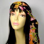 Boho-Haarschal Boho-Kopfschal Schwarz Orange Gelb Grün Rosa Haarschals Hippie-H...