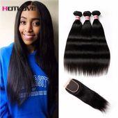 Brazilian Straight Hair With Closure 8A 3pcs / lot Bra …- Brasilianische Gerad…