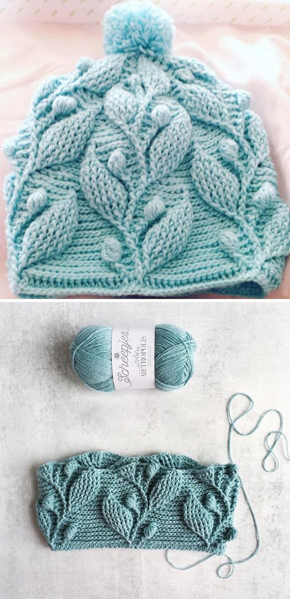 CROCHET PATTERN – BEANIE WITH LEAVES