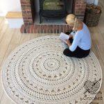 CROCHET RUG, Doily rug, Round carpet, crochet round rug, knitt carpet, babys rug, hand knitted rug, ECRU crochet rug or choice of color