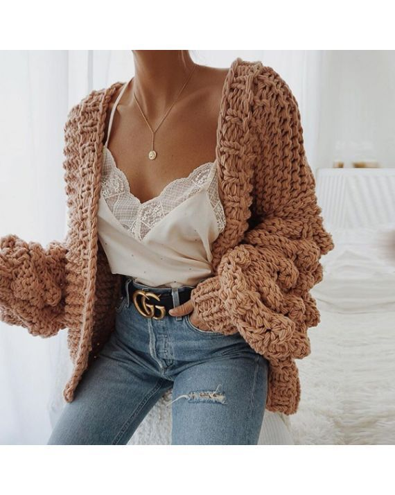 Caitlin Puff Sleeves Hand Knit Cardigan