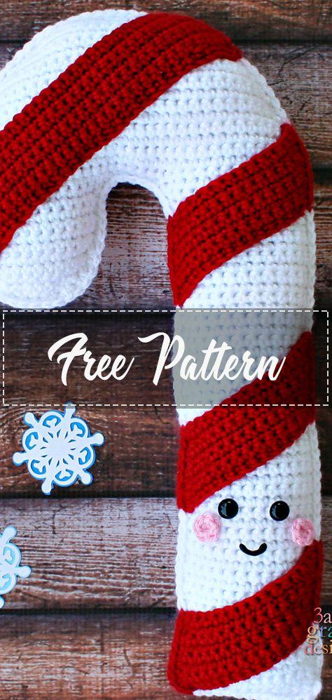 Candy Cane Kawaii Cuddler – Pattern Free