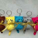 Cat Keychain Ring, Stuffed Knitted Toy, Bag Pendant, Knitted Cat, Keychain Ring,...