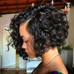 Charming Curly Bob Wig Synthetic Lace Front Wigs Women Black Hair wig