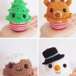Christmas Cupcake Crochet Ornaments