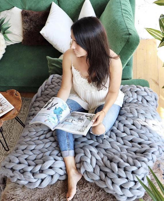 Chunky Knit Blanket, Chunky Knit, Wool Blanket, Throw Blanket, Chunky Blanket, Knit Blanket, Blanket, Knitted Blanket, Men's Gifts