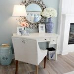 Classic+White+Vanity+with+Ornate+Mirror