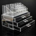 Clear Acrylic 3 Drawers Cosmetic Makeup Display Storage Table Organiser