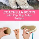 Coachella Boots with Flip Flop Soles Crochet pattern by Jess Coppom Make & Do Crew