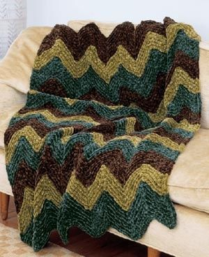 Cozy Sumptuous Ripple Afghan #Free pattern from Lion Brand Yarn