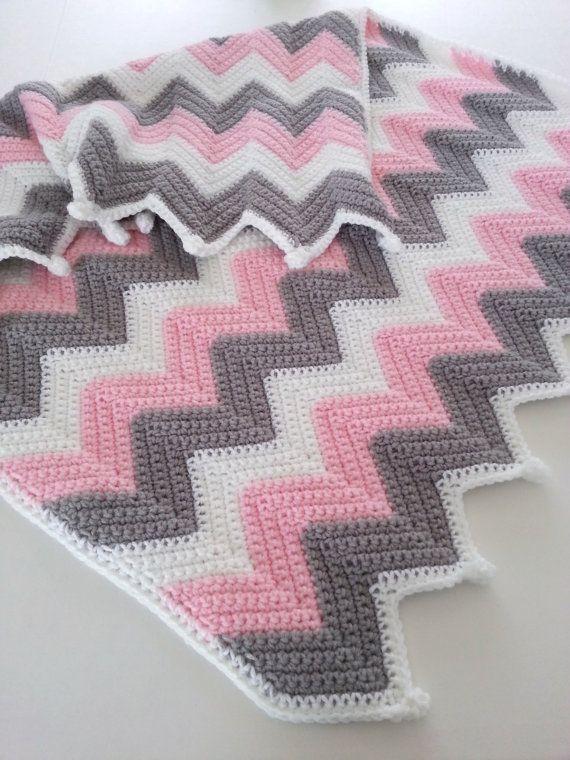 Crochet Baby Blanket, Baby Girl Blanket, Crochet Ripple Blanket, Pink White & Gray Blanket, Chevron Stroller Travel Car Seat Blanket Afghan