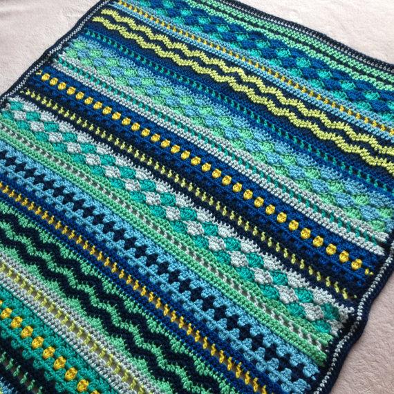 Crochet Baby Blanket Pattern / Tutorial: Baby Blues Blanket Crochet Pattern, Mixed Stitch Blanket, Baby Boy, Baby Girl – Instant Download