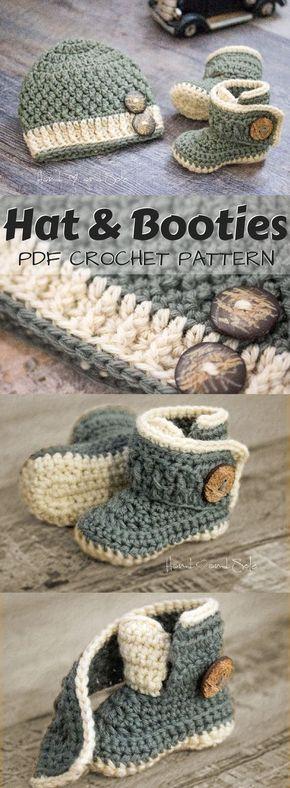 Crochet Baby Hat Pattern and Crochet Bootie Pattern, Baby Crochet Hat Pattern and Baby Booties Pattern, Crochet Patterns for Baby Boy