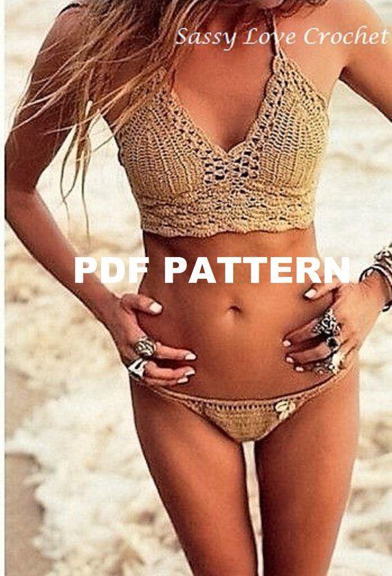 Crochet Bronze Bikini Pattern, Halter Bikini Pattern & Bikini Bottoms, Bikinis swimwear Boho Gypsy Festival- Digital Download