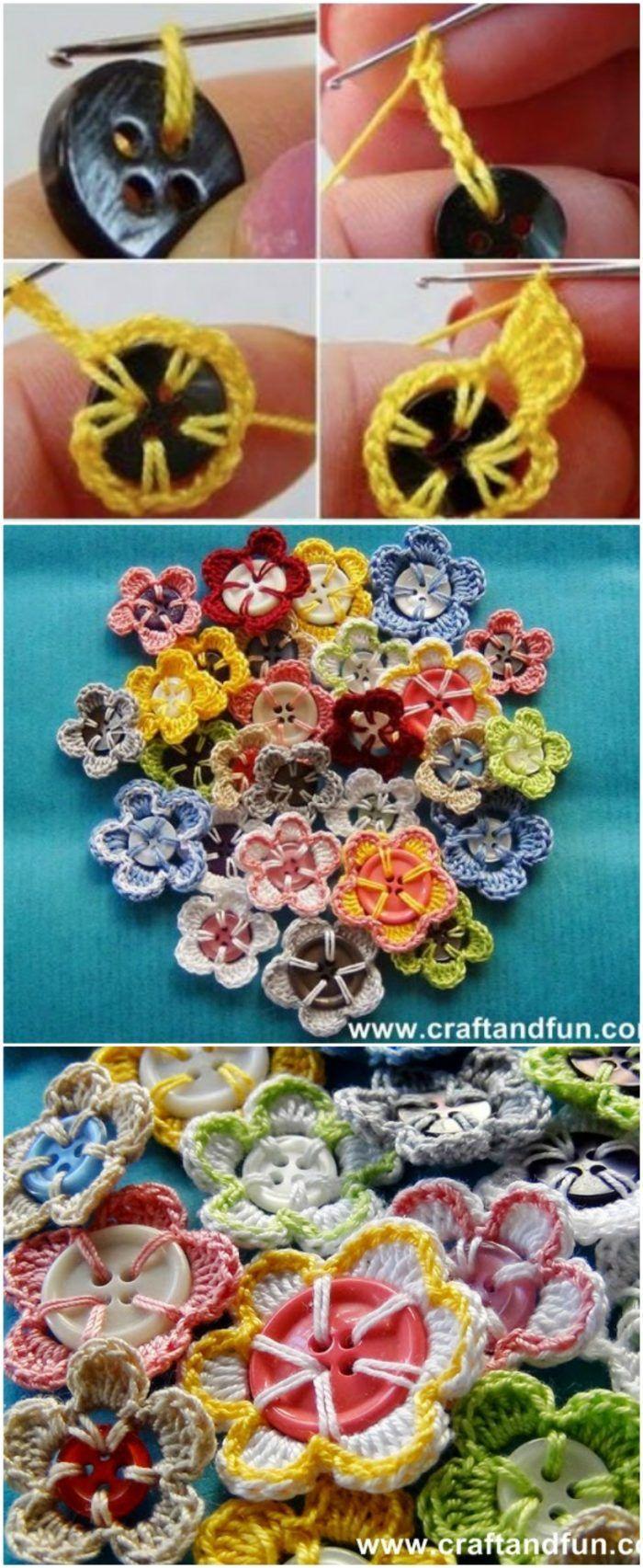 Crochet Button Flowers Video Free Pattern Lots Of Ideas – Crochet and Knitting Patterns
