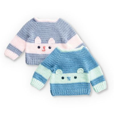 Crochet Character Sweaters for Kids – Free pattern – made in Bernat Softee – wit…