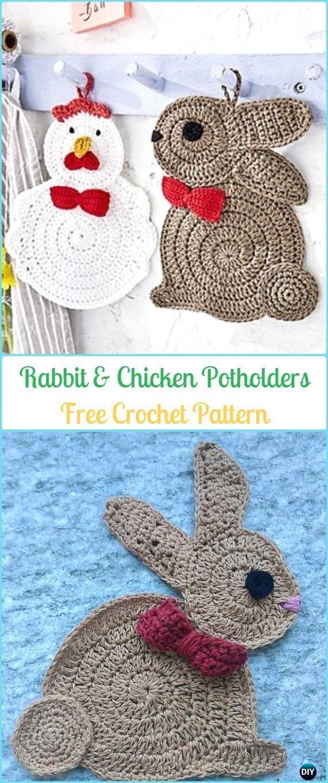 Crochet Chicken Potholder Free Patterns Easter Table