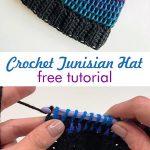 Crochet Colorful Tunisian Hat Beanie - Hetty J.