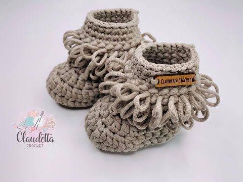 Crochet Easy Baby Booties Loop Stitch