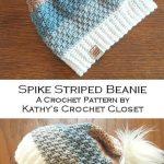 Crochet Hat PATTERN - Spike Striped Beanie - DIY Beanie Pattern - Womens Hat Pattern - Crochet Beanie Pattern - Faux Fur Pompom Pattern