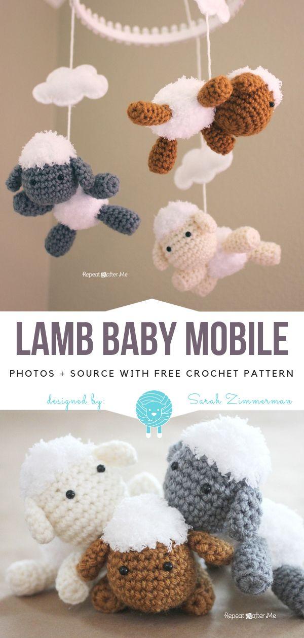 Crochet Lamb Baby Mobile Free Pattern