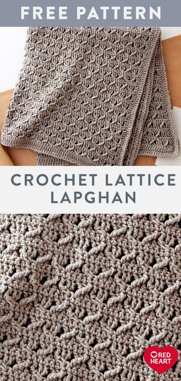 Crochet Lattice Lapghan free easy crochet pattern in Suoer Saver yarn. Alternate…