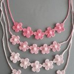 Crochet Necklace,Crochet Neck Accessory, Three Shades of Pink, 100% Cotton